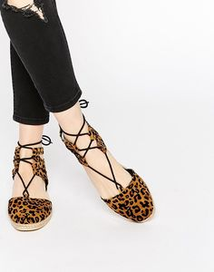 These fierce cheetah print lace-up espadrilles for $28.00. | 38 Cheap Pairs Of Shoes That Look Like A Million Bucks