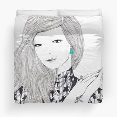 'Giant Fashion Portrait of a woman with a drop earring' Duvet Cover by Alicia Rogerson Bedspread, Modern Art, Ali, Duvet Covers, Illustration Art, Drop Earrings, Art Prints, Printed, Woman