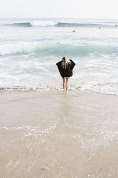 walking in the ocean at the beach