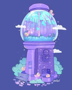 Snail Station, an art print by Aly Jones Cute Food Drawings, Cute Kawaii Drawings, Kawaii Art, Aesthetic Drawing, Aesthetic Anime, Aesthetic Art, Japon Illustration, Cute Art Styles, Dibujos Cute