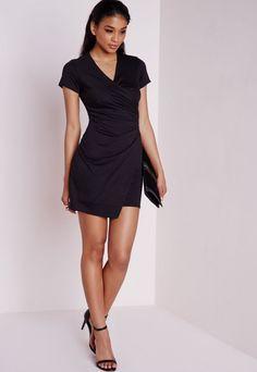 Short Sleeve Wrap Bodycon Dress Black - Dresses - Bodycon Dresses - Missguided