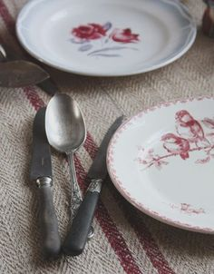 Bird plate in the foreground - can't tell if it's transferware or handpainted.