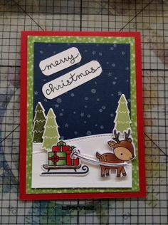 Lawn Fawn Toboggan Together Christmas card.