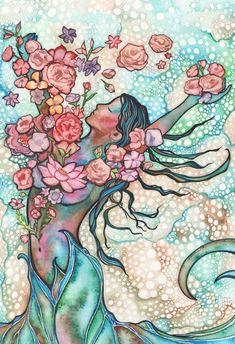 Tidal Bloom - watercolor painting artwork, spring peach rose pink blush spring earth tones, sacred gaia goddess divine female art springtime - New Ideas Art And Illustration, Fantasy Kunst, Fantasy Art, Arte Chakra, Gaia Goddess, Art Visionnaire, Rosa Rose, Sacred Feminine, Ouvrages D'art