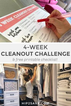 Check out our helpful cleanout challenge. We show you how to declutter your home in just 4 weeks going room by room! House Cleaning Tips, Cleaning Hacks, Clutter Organization, Organization Ideas, How To Fold Towels, Laundry Hacks, Declutter Your Home, Tidy Up, Make A Donation