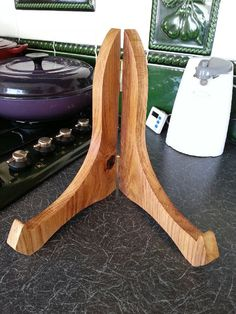 Cook book stand Oak cook book stand wooden by CottageCoppicing, £18.00