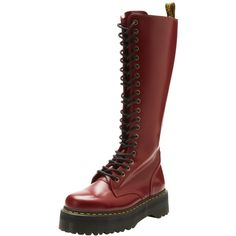 Amazon.com: Dr. Martens Women's Britain Boot,Cherry Red Smooth,5 UK/7... ($57) ❤ liked on Polyvore featuring shoes, boots, dr. martens, dr martens footwear, dr martens boots and dr martens shoes