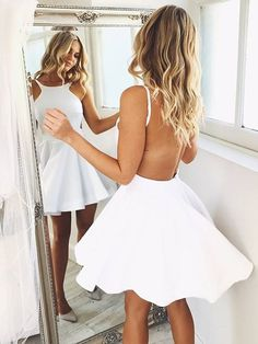 Short White Backless Homecoming Dress Party Dress