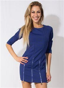 Blue and Black Checkered Zipper Dress #Party #Dress #PartyDress #Blue #Black #Checkered #Zippers #QuarterLengthSleeves #MiniDress #60's #SixtiesFashion #Fashion #Style #StylishWholesale #Wholesale #Downtown #LosAngeles #NightLife