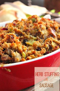 For Thanksgiving this year, make your stuffing memorable with this Herb Stuffing recipe made with Italian Sausage and dried cranberries. Thanksgiving Stuffing, Thanksgiving Menu, Fall Recipes, Holiday Recipes, Dinner Recipes, Christmas Desserts, Dinner Ideas, Pumpkin Recipes, Holiday Ideas