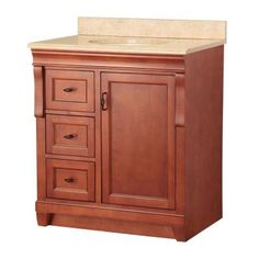 Foremost Naples 31 in. W x 22 in. D Vanity in Warm Cinnamon with Vanity Top and Left Drawers with Stone Effects in Oasis-NACASEO3122DL - The Home Depot