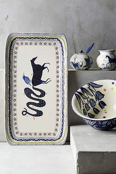Anthropologie EU Saga Platter. Magical horses and mythical birds from the pages of a Scandinavian folktale are brought to life in vibrant indigo.