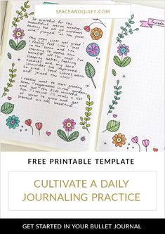 How to start a daily journaling practice in your bullet journal. Click through to learn about the benefits of daily journaling and download a free printable journal template. #bulletjournal #bulletjournaling #bulletjournaltemplate #dailyjournalpractice #journaling #bujo #journal #notebook #freeprintable #bulletjournallayout #diary #planner