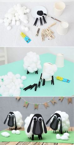 Step by step to the funny sheep from Berk. A funny table decoration on the . - Step by step to the funny sheep from Berk. A fun table decoration on how to train your dragon birth - Animal Crafts For Kids, Fun Crafts For Kids, Diy For Kids, Activities For Kids, Diy And Crafts, Sheep Crafts, Farm Crafts, Dragon Birthday, Dragon Party