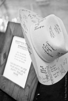 Cowboy hat as a baby shower guestbook
