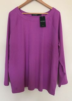 a0fc89d1594 LAUREN Ralph Lauren Women s PLUS Size 3X Pure Lilac Cotton Knit Top Shirt  Blouse