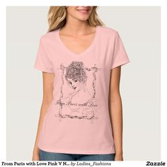 From Paris with Love Pink V Neck TShirt