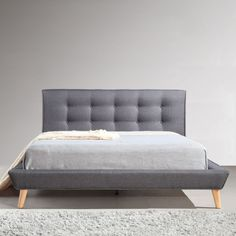 Double Linen Fabric Button Tufted Bed Frame in Grey | Buy New Arrivals