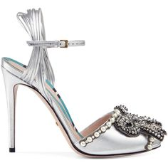 Gucci Embroidered Leather Sandal (4.428.275 COP) ❤ liked on Polyvore featuring shoes, sandals, heels, gucci, silver, ankle strap heel sandals, leather shoes, ankle strap sandals, bow sandals and snake print sandals