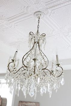 French antique chandelier + vintage pressed tin ceiling - perfect for bedroom Decor, Vintage Chandelier, Beautiful Chandelier, Color Inspiration, Dreamy Whites, Tin Ceiling, Driftwood Chandelier, French Chandelier, Inspiration