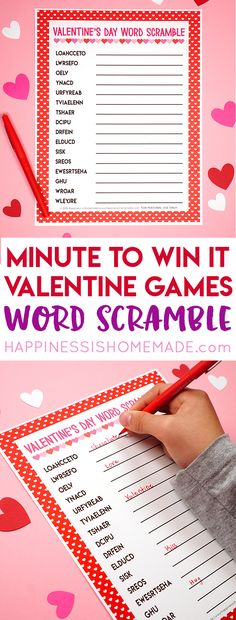 These Minute to Win It Valentine Games will be the hit of your Valentine's Day party! Valentine Minute to Win It Games for kids and adults - everyone will want to play! Kinder Valentines, Valentines Day Words, Valentines Day Activities, Valentines Day Party, Saint Valentine, Party Activities, Valentinstag Party, Valentines Games For Couples, Valentine Games