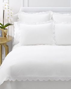 white bedding with Scallop Trim