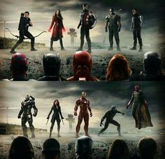 The two factions in Captain America: Civil War. Pro Sokovian Accords, Tony Stark, James Rhodes, Vision and Natasha Romanoff. Against