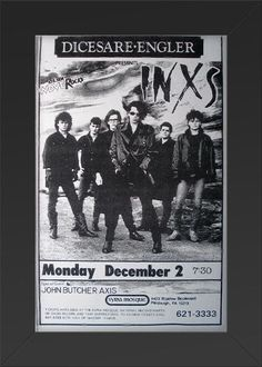 11x17 Concert Poster INXS with John Butcher Axis Framed or Un-Framed