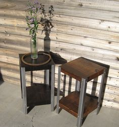 Rustic Reclaimed Wood Accent Table  Side Table  by IroncladDezin