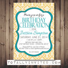 Damask Birthday Party Invitation. Great for Adults too! Surprise Party DIY PRINTABLE, vintage invite fun, yellow colorful, bright, birthday