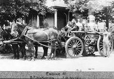 Engine 41. B. F. McNamara (left) and J. B. McKay (right). Brighton Allston Firehouses, Boston, 1910.