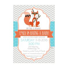 Personalized Tribal Fox in Orange, Aqua and Gray Baby Shower Invitations and Envelopes One Dozen Printed NV310 by HeadsUpGirls on Etsy