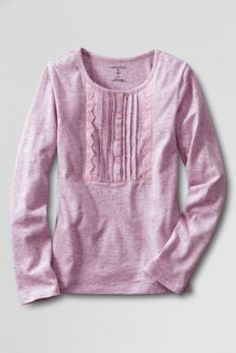 Girls' Long Sleeve Knit Pintuck Henley Shirt from Lands' End Henley Shirts, Pin Tucks, Photo Sessions, Your Photos, What To Wear, Knitting, Long Sleeve, Girls, Sweaters