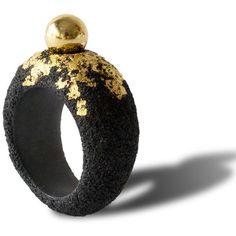 Arata Fuchi Black Pulverization Ring With 18k Yellow Ball : G ($341) ❤ liked on Polyvore
