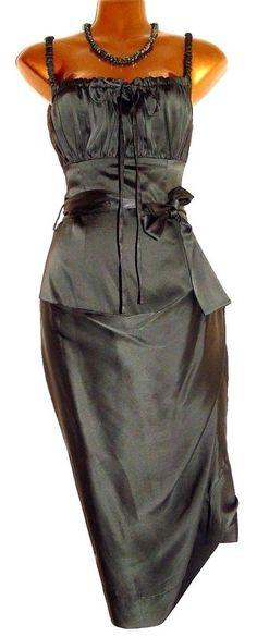 Beautiful VIVIENNE WESTWOOD Green Silk Ruched Wiggle Pencil Dress 42 UK 10 US 6