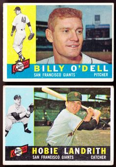 SAN FRANCISCO GIANTS LOT OF 2 1960 TOPPS BILLY ODELL AND HOBIE LANDRITH VGVG+ #ChicagoWhiteSox