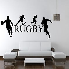 RUGBY PLAYERS WALL ART STICKER BOYS SPORT BEDROOM TRANSFER