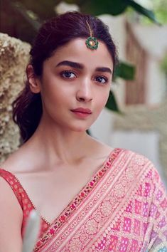Alia Bhatt has been seen wearing one gorgeous Indian outfit after another for her movie promotions. Check all of Alia Bhatt's Indian Looks here with prices. Beautiful Bollywood Actress, Beautiful Indian Actress, Beautiful Actresses, Bollywood Celebrities, Bollywood Fashion, Bollywood Actors, Bollywood Saree, Bollywood Masala, Indian Bollywood