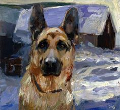 "Daily Paintworks - ""Winter Melancholy II, winter, German Shepherd, dog"" - Original Fine Art for Sale - © adam deda German Shepherd Painting, German Shepherd Dogs, Animal Paintings, Animal Drawings, Winter Drawings, Comic Tattoo, Gsd Puppies, Dog Portraits, Fine Art Gallery"