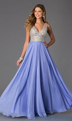 Shop long prom dresses and military-ball gowns with bejeweled bodices at Simply Dresses. Sleeveless pageant gowns and long formal party dresses.