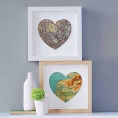 Bespoke Map Heart Artwork