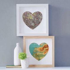 Adorable!! map with cutout heart over in pic frame
