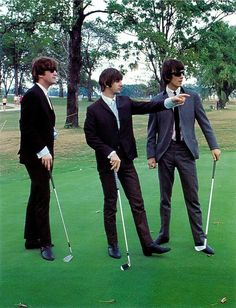 John Lennon, Richard Starkey, and George Harrison (Golfing with The Beatles)
