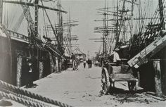 Photo of the Port of Pensacola, Circa 1884: International Ships Unloading Ballast Rock
