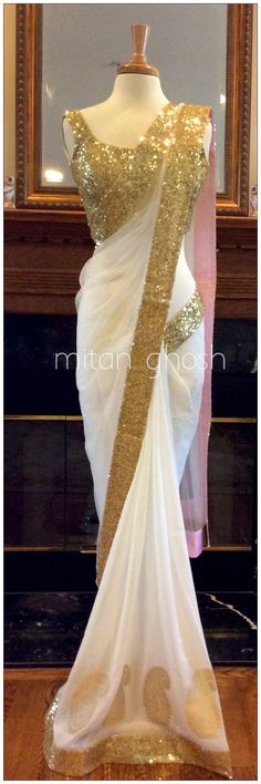 Indian Designer Party Wear Saree Georgette Border Work Plain White Saree Sari in Clothing, Shoes & Accessories, Cultural & Ethnic Clothing, India & Pakistan Indian Attire, Indian Wear, Indian Dresses, Indian Outfits, Indian Clothes, Beautiful Saree, Beautiful Dresses, Asian Fashion, Look Fashion