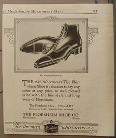 "1921 The Florsheim Shoe Co. Men's Shoe Ad - ""For the man who cares'"