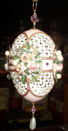 Rosalie's Roses, hand carved goose egg; floral punch art, ornaments, eggart