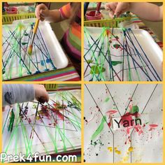"Preschool Art Yarn Snap Painting   This week our Letter of the Week is ""Y"". This year we tried a new technique to painting with yarn, I like to call Yarn Snap. Easy to set up and kids kids really enjoyed the noise of the yarn snapping and the paint slapping onto the paper. I …"