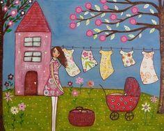 whimsical laundry day art print block