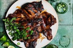 Soy-Basted Pork Chops with Herbs and Jalapeños / Photo by Peden + Munk